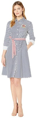 Tommy Hilfiger Adaptive Stripe Crested Shirtdress (Bright White/Blue Depths) Women's Dress