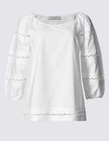 Per Una Pure Cotton Embroidered 3/4 Sleeve Blouse