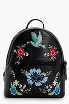 boohoo Womens Sarah Floral Embroidered Rucksack in Black size One Size