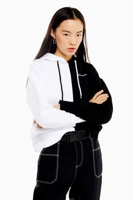 Champion Womens Black And White Small Logo Hoodie By Monochrome
