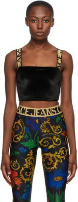 Versace Black Velvet Crop Tank Top