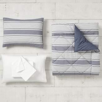 Pottery Barn Teen Jackson Stripe Comforter Set, Queen, Faded Navy