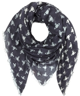 Vivienne Westwood Navy Blue Absence of Orbs Woven Modal and Wool Wrap