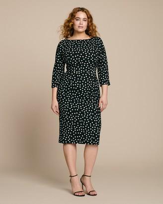 Dolce & Gabbana Three-Quarter Sleeve Polkadot Sheath Dress