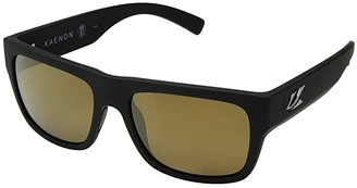 Kaenon Montecito (Black Matte Grip Brown 12-Polarized Gold Mirror) Fashion Sunglasses
