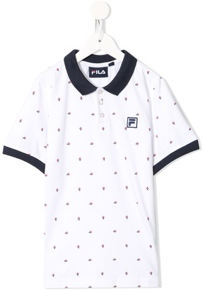 Fila Kids Monogram Logo Print Polo Shirt