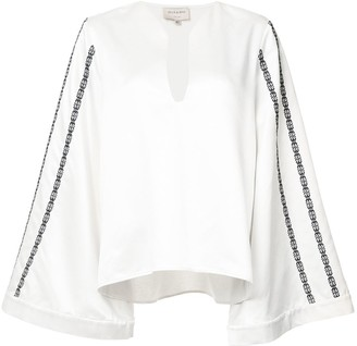 ZEUS + DIONE Embroidered Wide Sleeve Blouse
