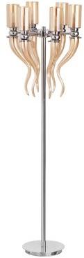"Rosdorf Park Burleigh 64"" Candelabra Floor Lamp Shade Color: Amber"