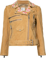 Anine Bing embroidered biker jacket - women - Viscose/Goat Suede - XS