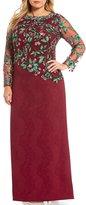 Tadashi Shoji Plus Long-Sleeve Embroidered Gown