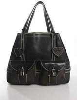 Luella Brown Leather Lobster Clasp 3 Pocket Daria Tote Handbag