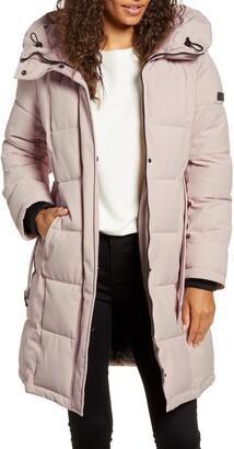 Pillow Collar Belted Puffer Coat