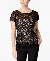 Alex Evenings Petite Embroidered Peplum Blouse