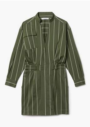 Derek Lam 10 Crosby Long Sleeve Cotton Sateen Striped Utility Wrap Shift Dress