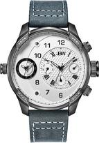 JBW Gunmetal & Gray G3 Diamond Leather Strap Watch - Men