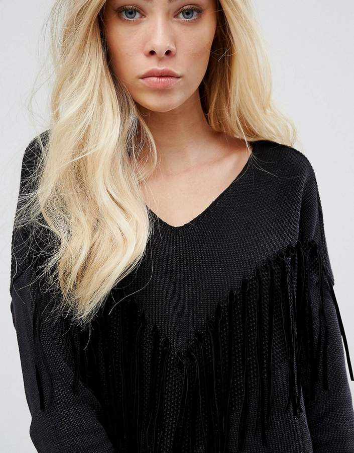 Replay Deep V-neck Knit with Tassels