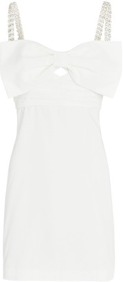 Self-Portrait Taffeta Bow-Accent Mini Dress