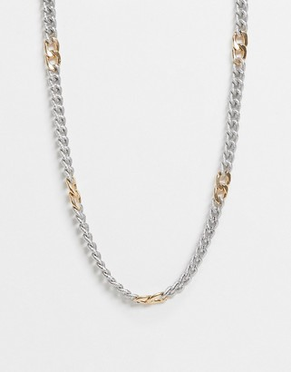 ASOS DESIGN necklace in texture curb chain in mixed tone