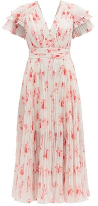 Self-Portrait Pleated Floral-print V-neck Chiffon Midi Dress - Pink Print