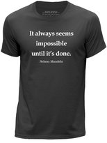 STUFF4 Men's Dark Grey Round Neck T-Shirt/Nelson Mandela Quote