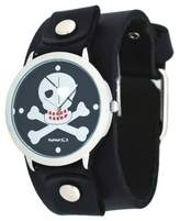 Nemesis #GB821K Women's Skeleton Cross Bone Red Teeth Dial Black Wide Cuff Band Watch