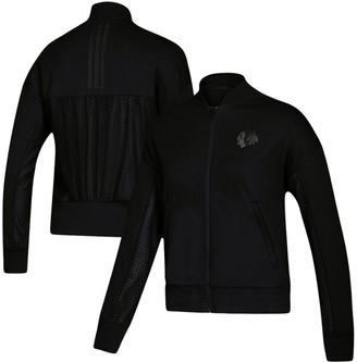 adidas Women's Black Chicago Blackhawks Stadium ID Mesh Bomber Jacket