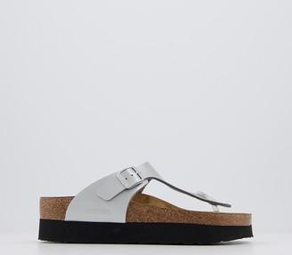 Birkenstock Papillio Gizeh Platform Sandals Silver