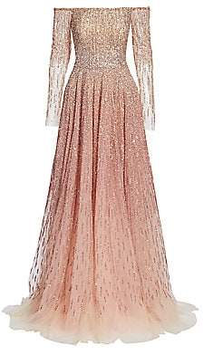 Pamella Roland Women's Off-The-Shoulder Ombré Sequin & Crystal Gown