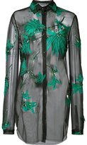 Monique Lhuillier embroidered sheer blouse
