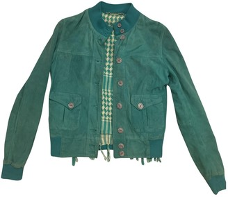 Le Sentier Turquoise Suede Leather Jacket for Women