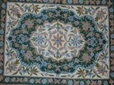 Crewel Fabric World Crewel Rug Medallion Floral Arrangement Chain Stitched Wool Rug
