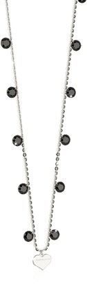 Rebecca Lucciole Sterling Silver Necklace w/Black Crystals