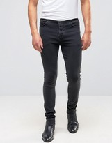 Asos Super Skinny Jeans With Faux Leather Waistband In Washed Black