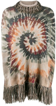 Valentino Pre Owned Cashmere Tie Dye Fringed Top