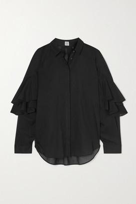 Totême Locarno Ruffled Cotton Shirt - Black