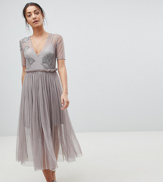 Asos Tall TALL Embellished Deep Plunge Mesh Midi Dress with Delicate Beading-Gray