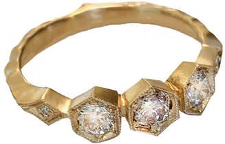 Cathy Waterman Apricot Diamond Triple Hexagonal Ring - Yellow Gold