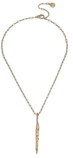 AllSaints Sculptural Feather Pendant Necklace, 16