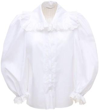 Philosophy di Lorenzo Serafini Maxi Collar Poplin Shirt W/Puff Sleeves