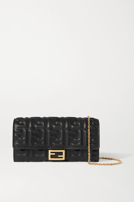 Fendi Embossed Leather Shoulder Bag - Black