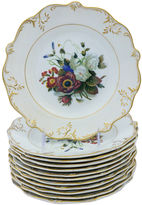 One Kings Lane Vintage 1840s English Floral Plates, S/12