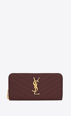 Saint Laurent Monogram Matelasse Slg Monogram Zip Around Wallet In Grain De Poudre Embossed Leather Dark Legion Red Onesize