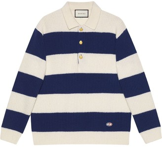 Gucci GG patch knitted polo shirt