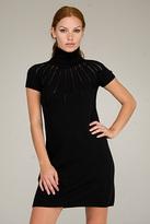 Valentino Red Turtleneck Black Sweater Dress