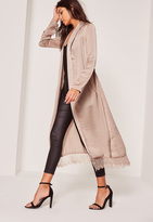 Missguided Nude Lace Hem Silk Duster Jacket