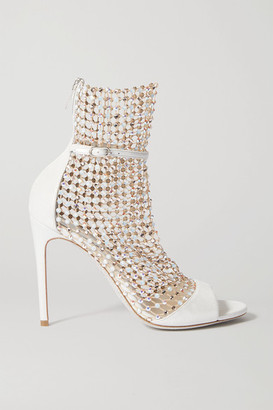 Rene Caovilla Galaxia Crystal-embellished Mesh And Metallic Leather Sandals - Ivory