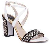Rene Caovilla Pearl Studded Suede & Leather Block Heel Sandals