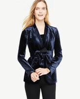 Ann Taylor Belted Velvet Blazer