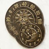Sun and Moon Wall Clock and Thermometer