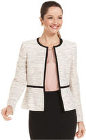Kasper Tweed Contrast-Trim Jacket